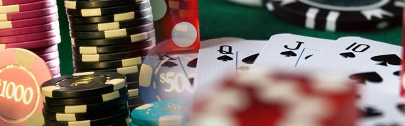 Poker table cards and chips